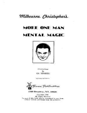 Milbourne Christopher - More One Man Mental Magic by flechalivros