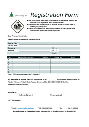Registration Form 2016 HIPF Short Course