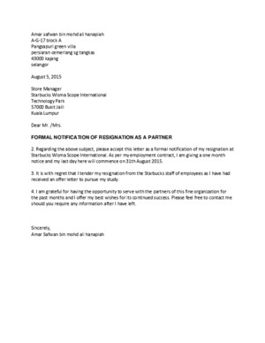 Resign letter Starbucks