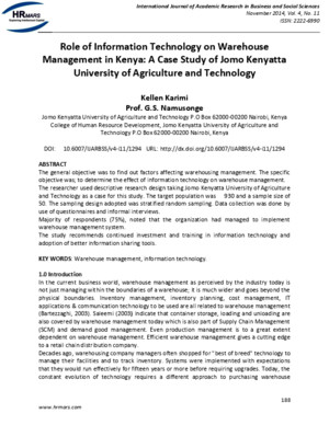 Role of Information Technology on Warehouse Management in Kenya a Case Study of Jomo Kenyatta University of Agriculture and Technology