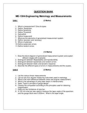 009017 Engineering Metrology and Measurements