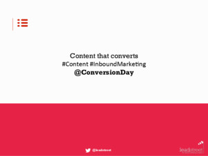 A Content Marketing Strategy for a Succesful Inbound Marketing By Jamie Biesemans at Conversion Day 2015