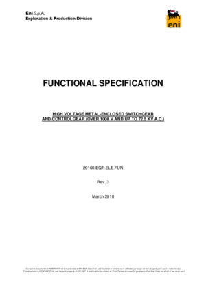 Sample - HV Metal Enclosed Switchgear Functional Specification