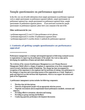 Sample Questionnaire on Performance Appraisal