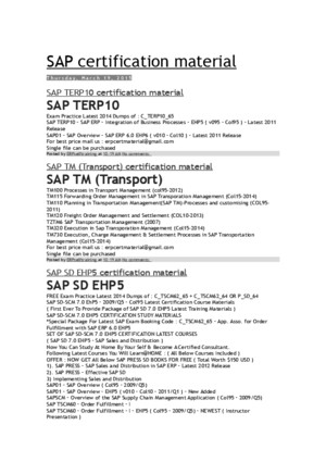 SAP OCM Certification Material