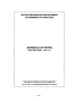Schedule of Rates 2012