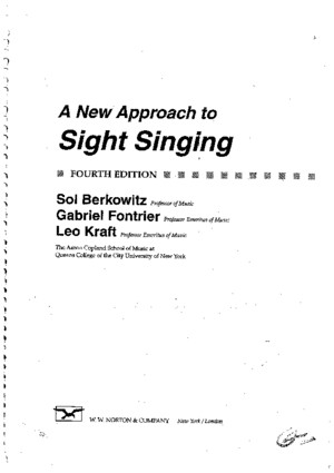 A New Approach to Sight Singing[1]
