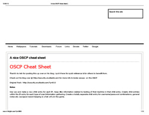 A Nice OSCP Cheat Sheet