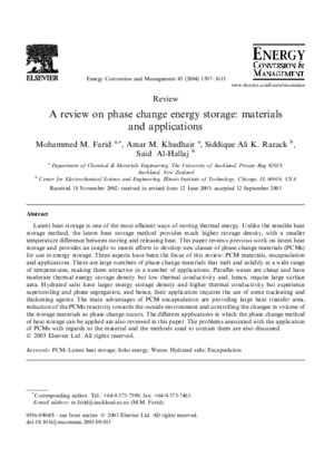 A Review on Phase Change Energy Storage--materials and Applications