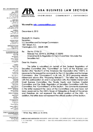 ABA Letter to SEC re Reg D/Form Proposed Rules (December 6, 2013)