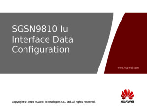SGSN9810 Iu Interface Data Configuration