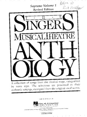 Singers Musical Theatre Anthology Soprano Vol 1