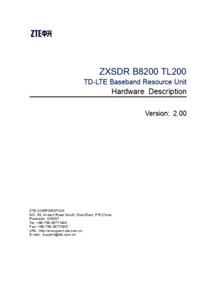 SJ-20100818110708-002-ZXSDR B8300 TL200(V200) TD-LTE Baseband Resource Unit Hardware Description
