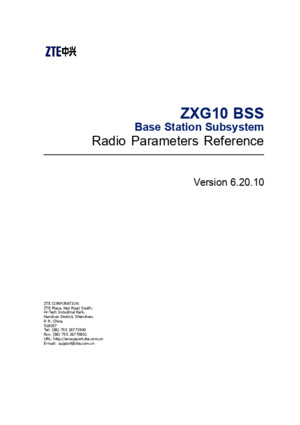 Sjzl20094798-ZXG10 BSS (V62010) Radio Parameters Reference