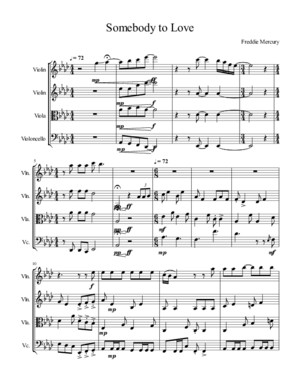 Somebody to Love - String Quartet-Score and Parts