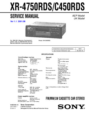 Sony XR-C450RDS Service Manual