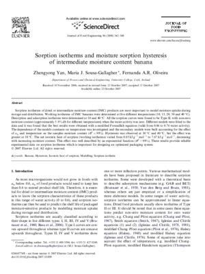 Sorption Isotherms and Moisture Sorption Hysteresis of Intermediate Moisture Content Banana