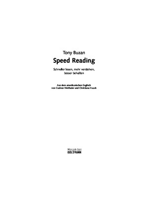 Speed Reading by Tony Buzan