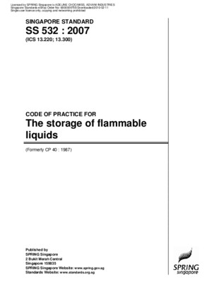 SS 532-2007 the Storage of Flammable Liquids