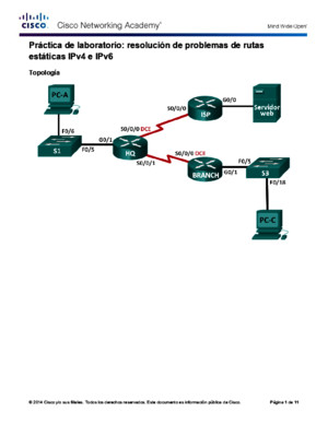 actividad 6525 Lab - Troubleshooting IPv4 and IPv6 Static Routes