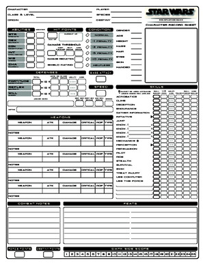 Star Wars d20 Saga Edition character sheet
