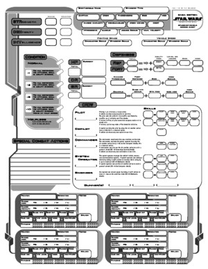 Star Wars RPG: Saga Edition Custom Starship Sheet