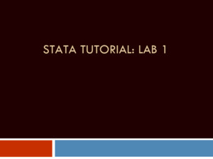 STATA TUTORIAL: LAB 1 1 STATA windows  The command window  The viewer/results window  The review of commands window  The variable window