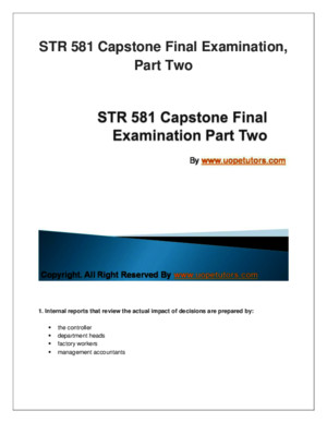 STR 581 Capstone Final Examination Part Two University of Phoenix