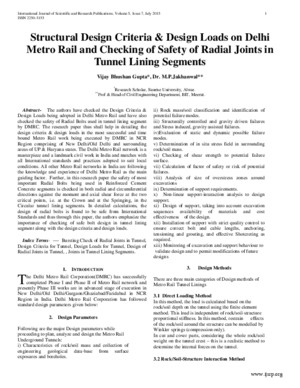 Structural Design Criteria Design Loads on Delhi Metro Rail and Checking of Safety of Radial Joints in Tunnel Lining Segments