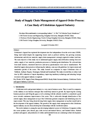 Study of Supply Chain Management of Apparel Order Process:A Case Study of Uzbekistan Apparel Industry