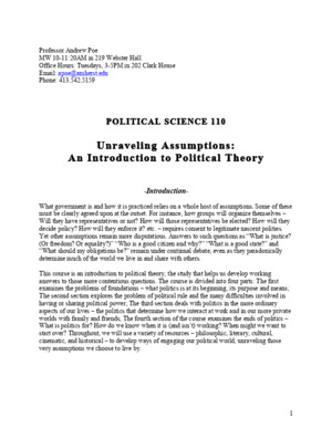 Syllabus - An Introduction to Political Theory - POSC 110