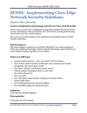 Syllabus for CCNP Security SENSS 300(Ex Firewall)