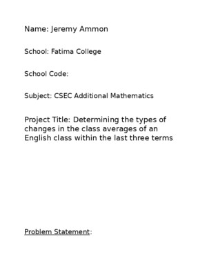 Additional Mathematics SBA