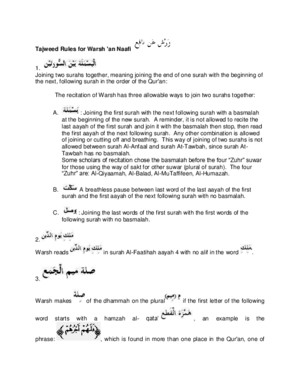 Tajweed Rules for Warsh