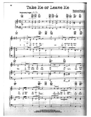 Take Me or Leave Me From Rent the Musical Piano Sheet Music