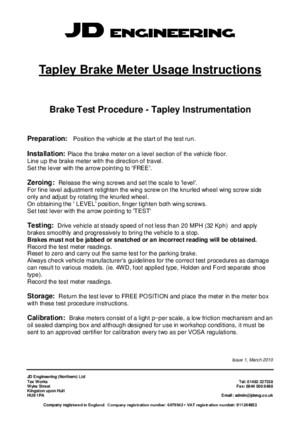 Tapley Brake Meter Usage Instructions