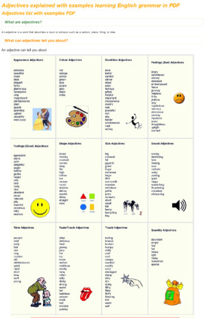 Adjectives explained with examples PDF - Learning English vocabulary and grammarpdf
