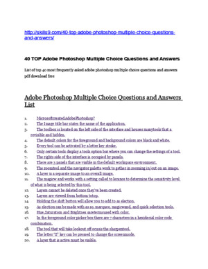 Adobe Acrobat Multiple Choice Questions and Answers List