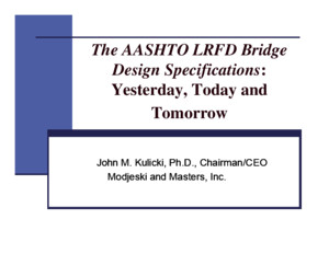 The Aashto Lrfd Specifications