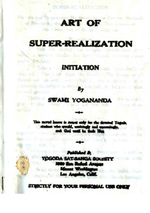 The Art Of Super-Realization by Swami Yogananda - Kriya Yogapdf