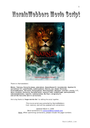 The Chronicles of Narnia the Lion the Witch and the Wardobre (Movie Script)