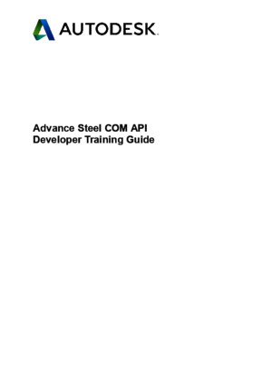 Advance Steel COM API Developer Training Guide
