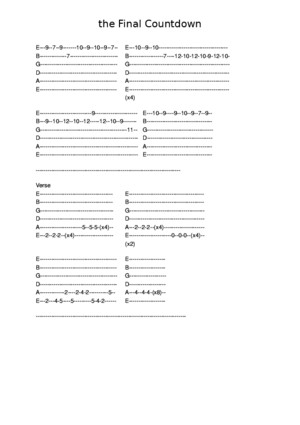 The Final Countdown guitar tab