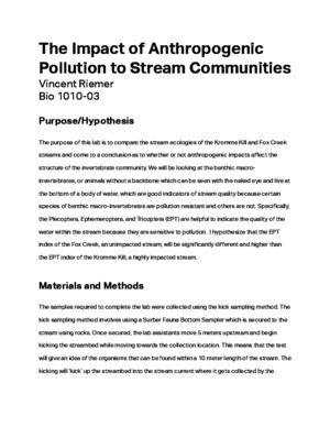The Impact of Anthropogenic Pollution to Stream Communites