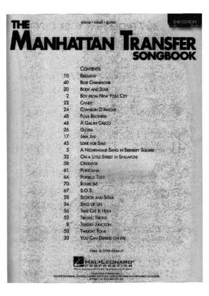 The Manhattan Trangfer Songbookpdf