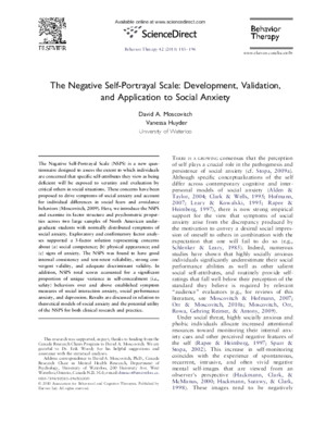 The Negative Self-Portrayal Scale- Development, Validation, And Application to Social Anxiety