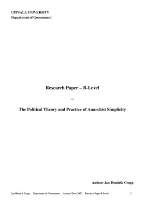 The Political Theory and Practice of Anarchist Simplicity