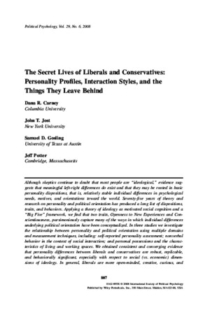 The Secret Lives of Liberals and Conservatives Personality Profiles Interaction Styles 2008