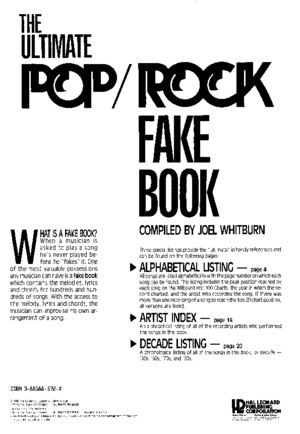 The Ultimate Pop Rock Fake Book Index