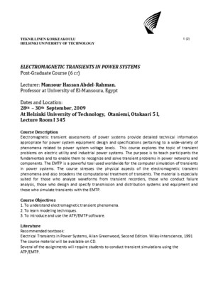 TKK Electromagnetic Transients in Power Systems